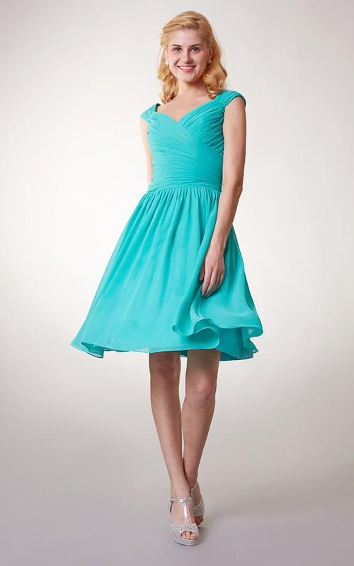 Short Ruched Chiffon Cap-Sleeve Bridesmaid Dress