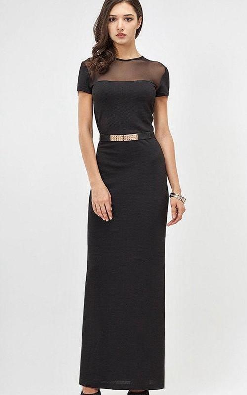 Jersey Beaded Belt Short-Sleeve Jewel-Neckline Dress