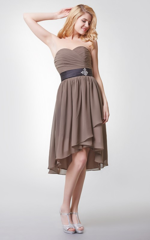 High-Low Beaded Brooch Pleated Sleeveless Chiffon Gown