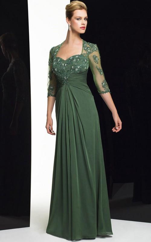 Illusion Half Sleeve Jersey Floor-length Dress With Beading