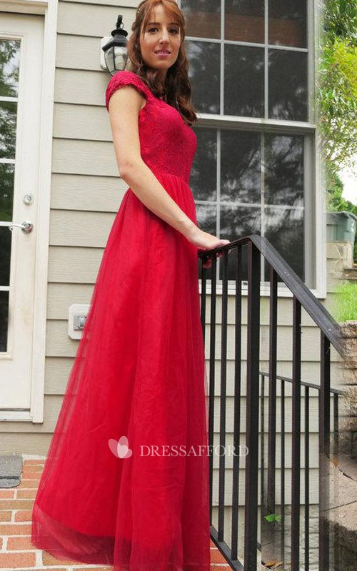 Scoop-neck Cap-sleeve A-line Floor-length Dress With Appliques And Zipper