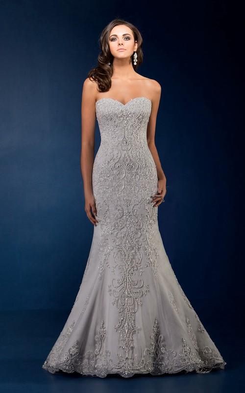 exclusive Sweetheart Mermaid Beaded Wedding Dress With Sweep Train