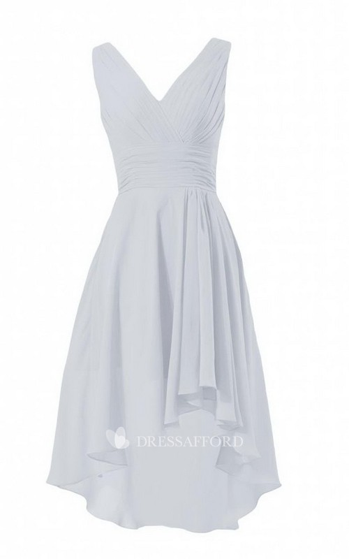 High-Low Ruched V-Neckline Sleeveless Chiffon Dress