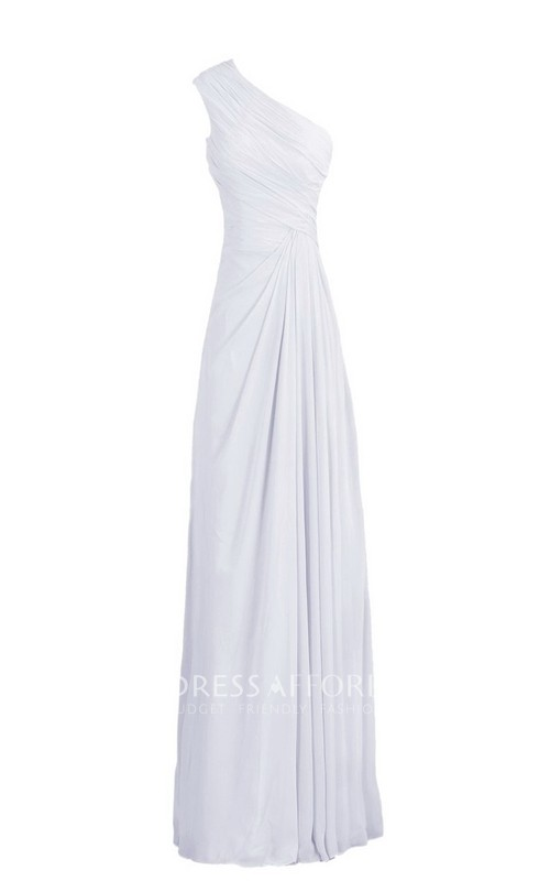 Long Pleated Ruched One-Shoulder Chiffon Floor-Length Dress
