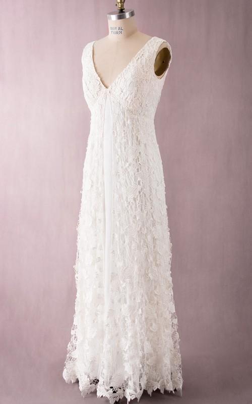 Delicated V Back V-Neck Vintage Floor-Length Dress