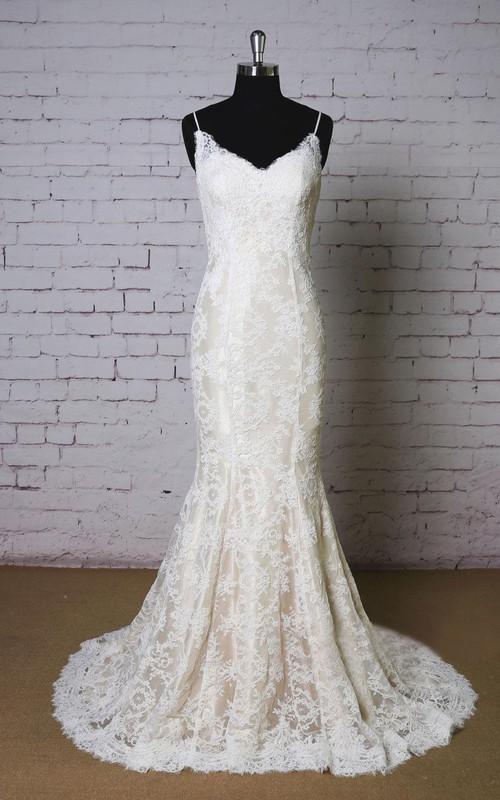 Wedding Champagne Underlay Lace Spaghetti-Strap Dress