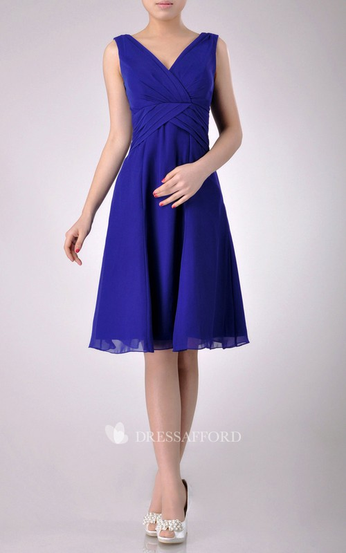 Chiffon Low-V Back Inspire V-Neck Short-Midi Bridesmaid Dress