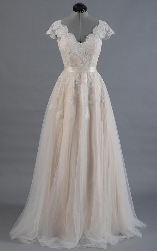 Bridal Tulle Skirt V-Back V-Neckline Cap-Sleeve Dress