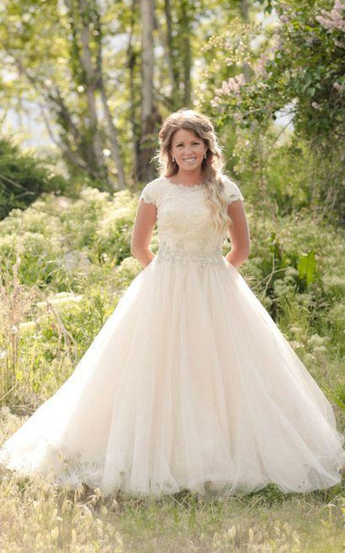 Jewel Lace Tulle Cap Short Sleeve Wedding Gown