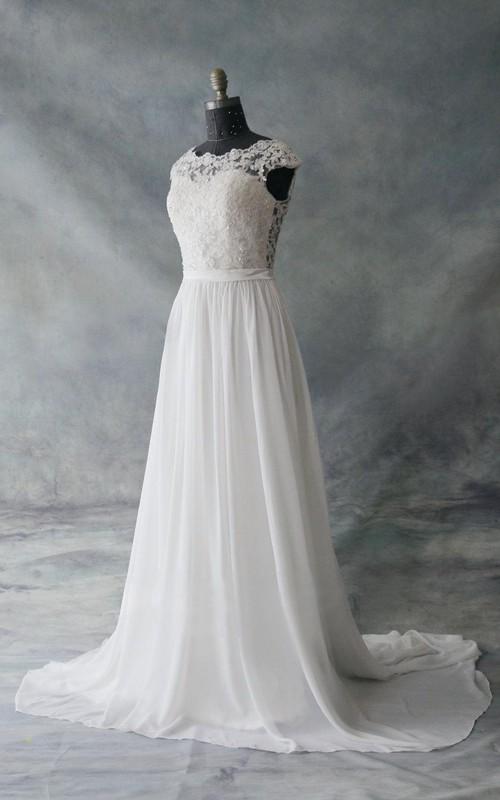Lace Low-V Back Chiffon Cap-Sleeve Dress