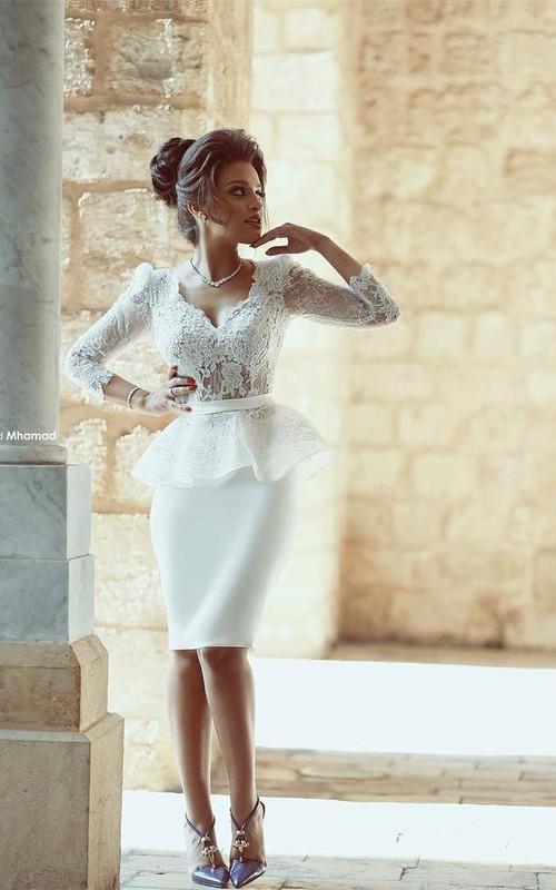 Sxey V-neck Lace White Prom Dress 2018 Bodycon Knee-length