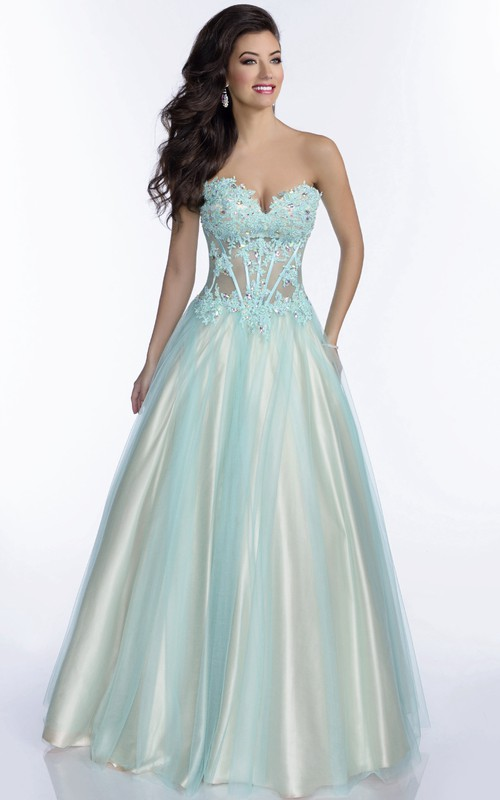 Sweetheart Lace-Up Back Lace Appliqued Strapless Tulle A-Line Gown