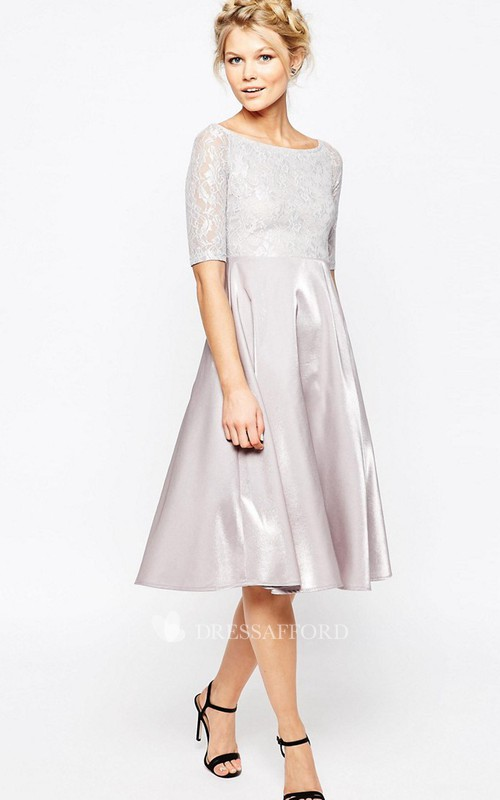 Scoop-neck Short Sleeve A-line Knee-length Dress With Lace top