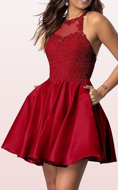 Jewel Satin Lace Sleeveless Short Zipper Cross Back Homecoming Dress with Pleats