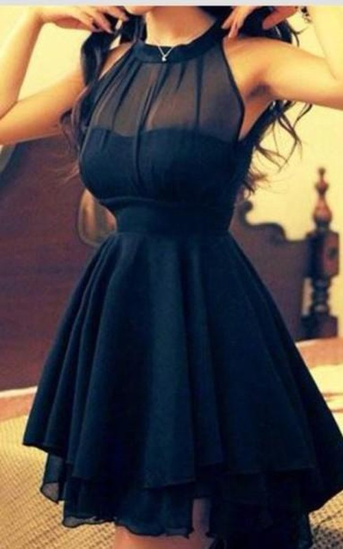 Elegant High Neck Chiffon Summer Homecoming Dress