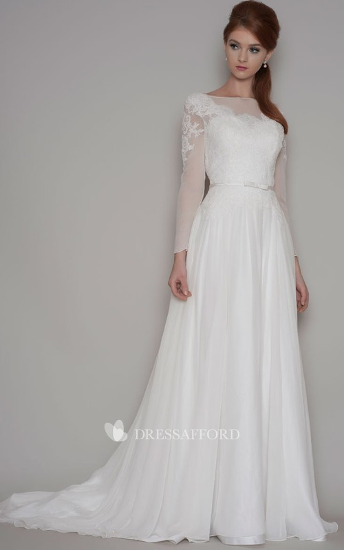 Bateau Illusion Long Sleeve Lace Appliqued Wedding Dress With Sweep Train