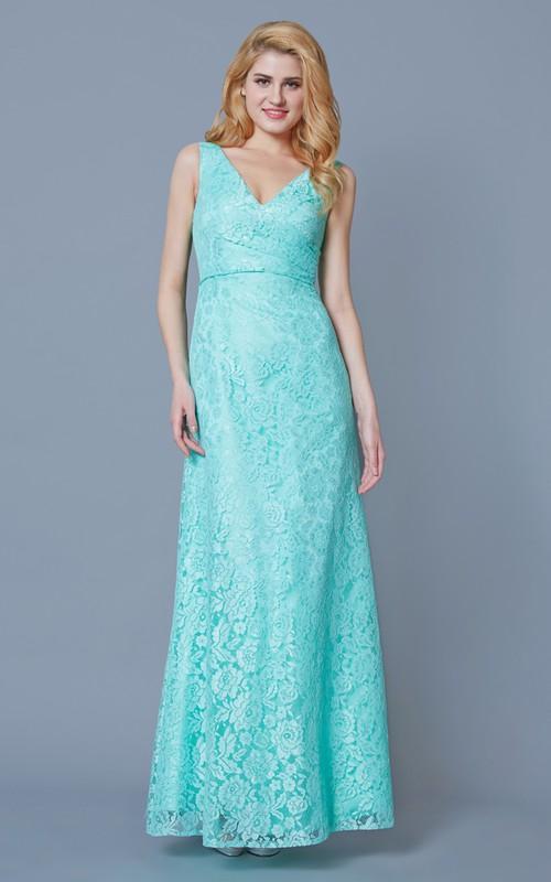 Lace V-neck Sleeveless Long Dress With Split Back