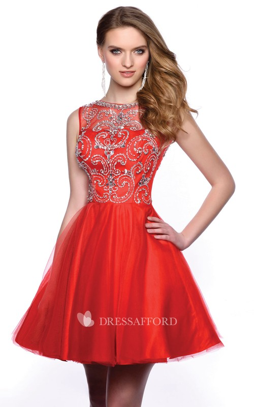 A-Line Tulle Short Homecoming Dress With Glimmering Embellished Bodice