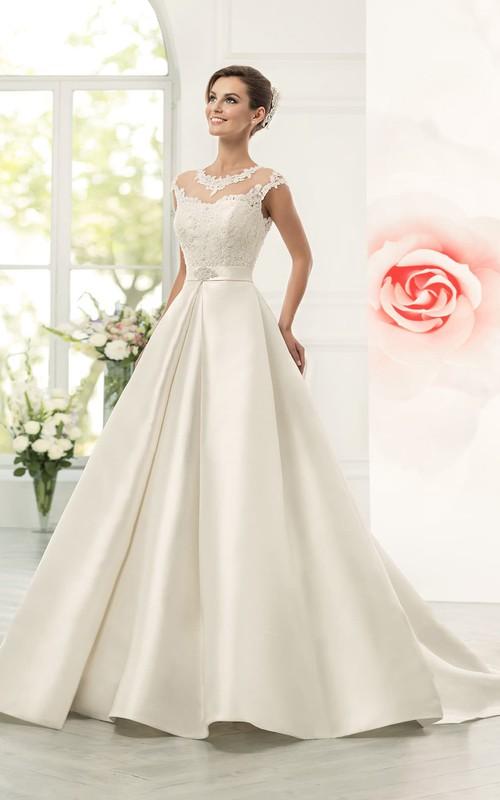 Jeweled Neck Cap Sleeve A-line Satin Wedding Dress With Lace Bodice