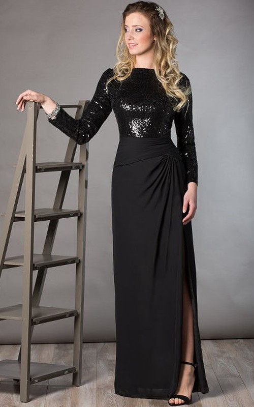 Sequined Long Sleeve Chiffon Dress With Split Front And Side Draping