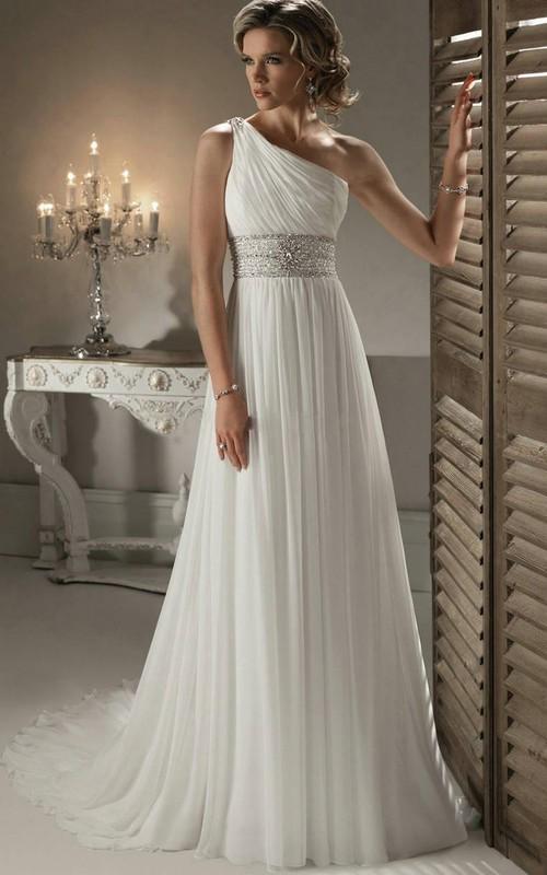 Chiffon Jeweled Waistband One-Shoulder Modern Gown