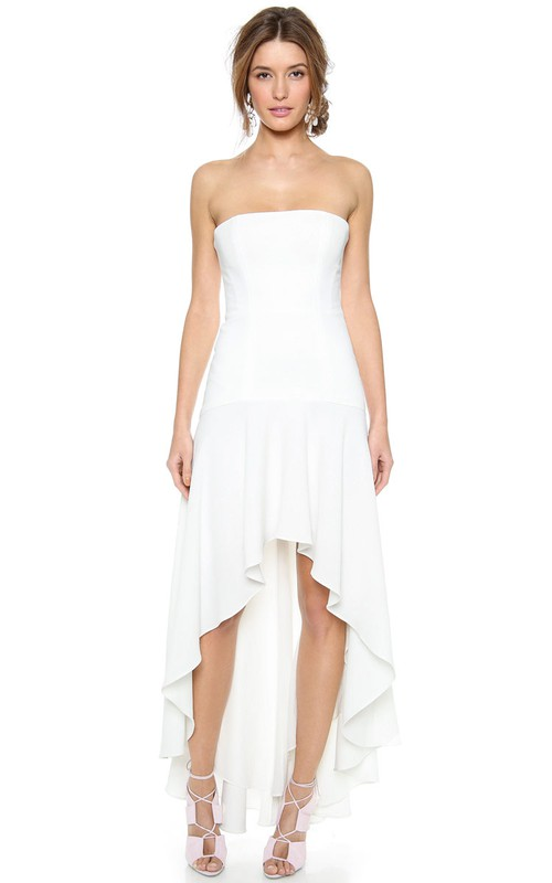 Strapless Chiffon High-low Dress With Draping And Zipper