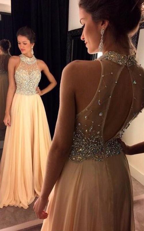 Crystals A-Line Zipper High-Neckline Glamorous Dress