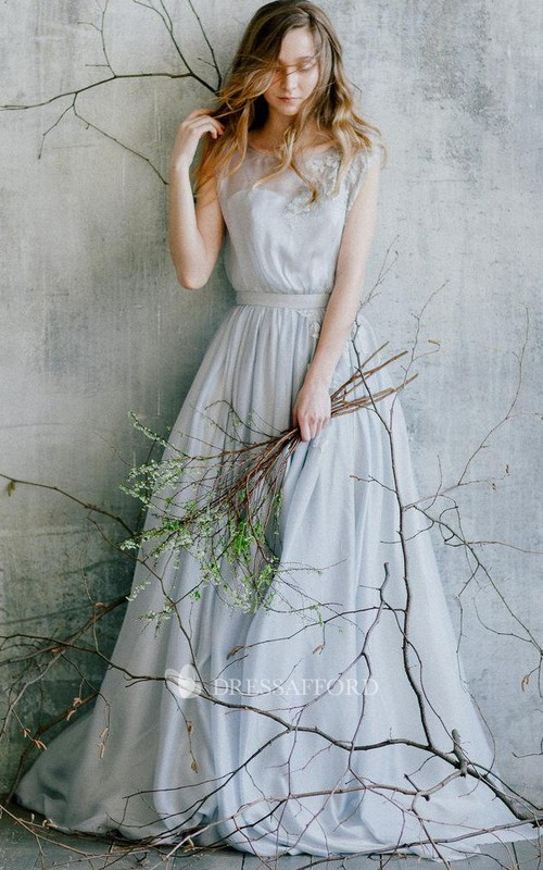 Scoop-neck Sleeveless A-line Floor-length Dress With Appliques