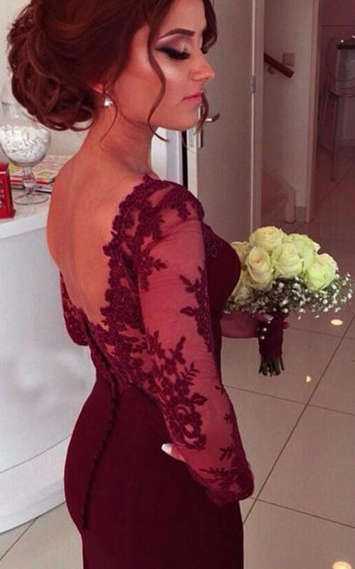 Sweetheart Satin Lace Long Sleeve Floor-length Pleats Dress