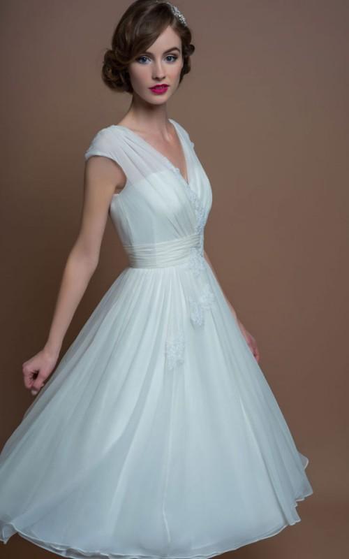 V-neck A-line Tea-length Wedding Dress With Appliques