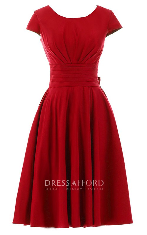 Bateau Short Sleeve Chiffon short Dress With bow And Pleat