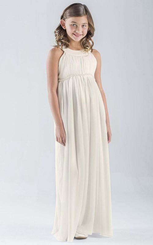 Empire Chiffon Pleated Floor-Length Sleeveless Flower Girl Dress