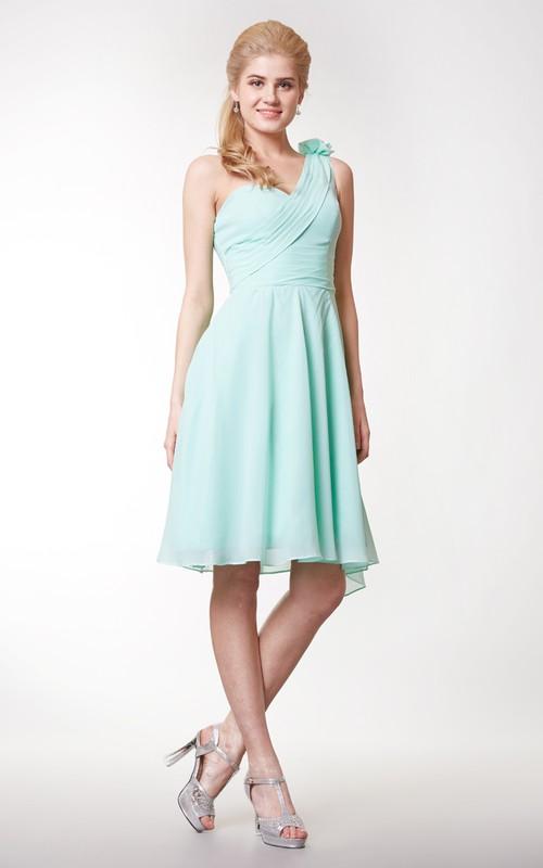 Chiffon Floral A-Line One-Shoulder Knee-Length Dress