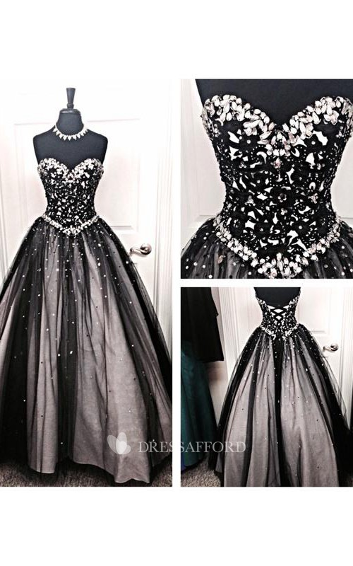Long Lace Tulle Sweetheart Bell Jeweled Dropped Lace-Up Ball Gown