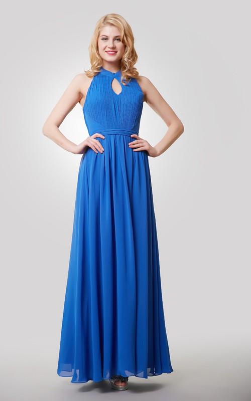 Chiffon Halter Keyhole A-Line Floor-Length Gown