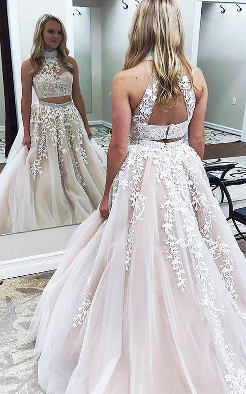 High Neck Lace Tulle Sleeveless Sweep Brush Train Appliques Beading  Dress