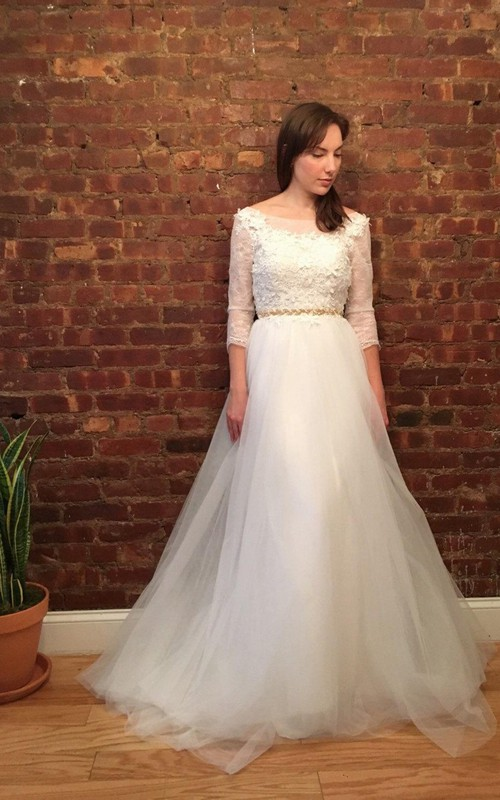 Scoop-neck 3-4-sleeve A-line Tulle Dress With Appliques And Jeweled Waist
