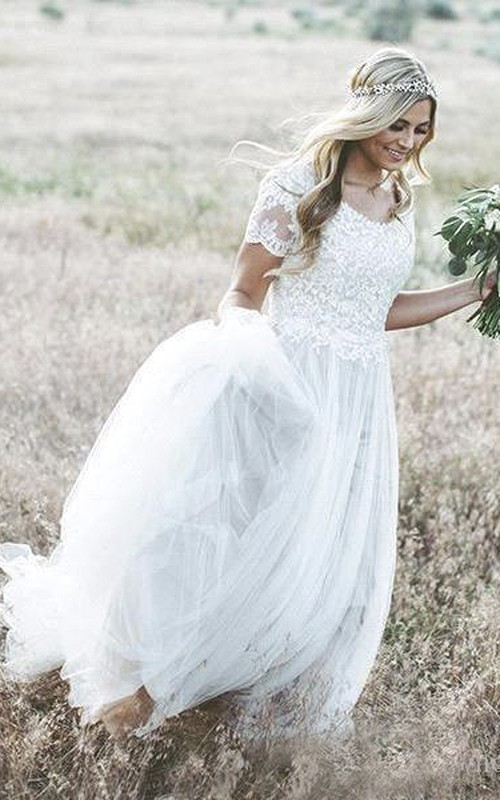 Luxury Jewel Illusion Short Sleeve Lace Tulle A-Line Ball Gown Wedding Dress