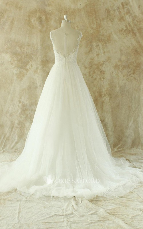 Sleeveless Illusion Back A-Line Floor-Length Tulle Wedding Dress