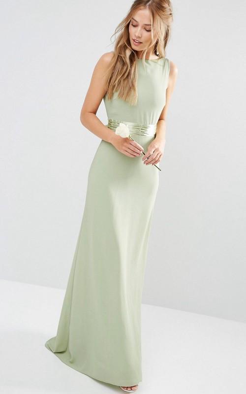 Sheath Sleeveless Long Scoop-Neck Chiffon Bridesmaid Dress With Bow And V Back