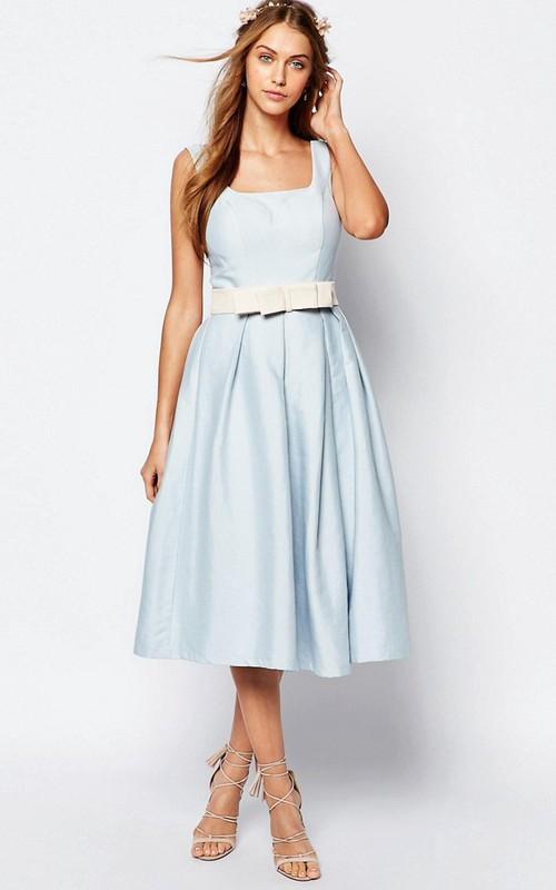 A-Line Sleeveless Square-Neck Tea-Length Satin Bridesmaid Dress With Bow