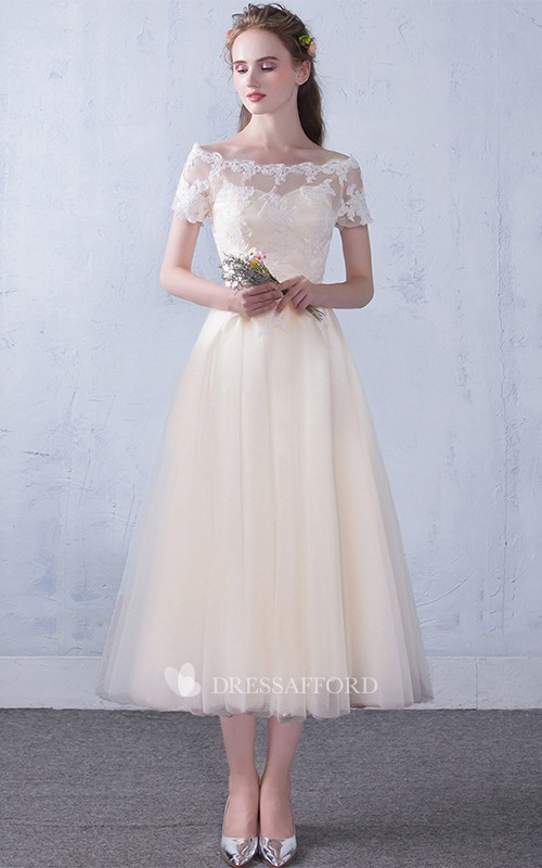 Off-the-shoulder Tulle Lace Tea-length Formal Dress With Appliques