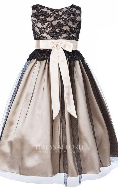 A-Line Lace Bodice Pleated Sleeveless Dress
