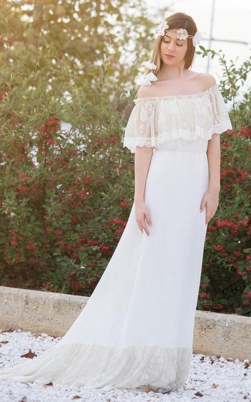Boho Off-The-Shoulder Lace Chiffon Wedding Dress With Sweep Train
