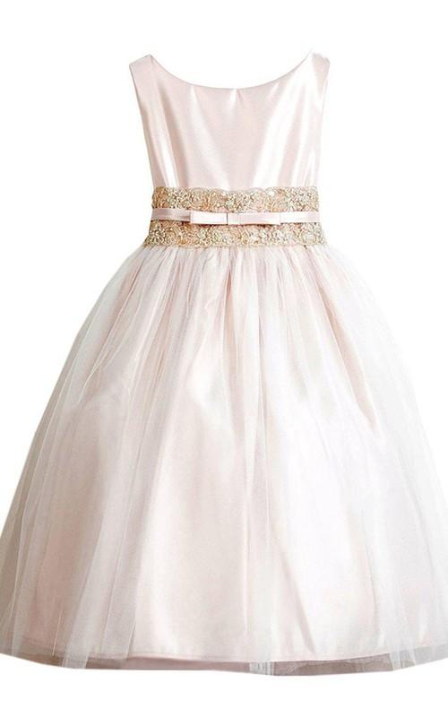 Rhinestoned Pleats Scoop-Neckline Sleeveless Gown