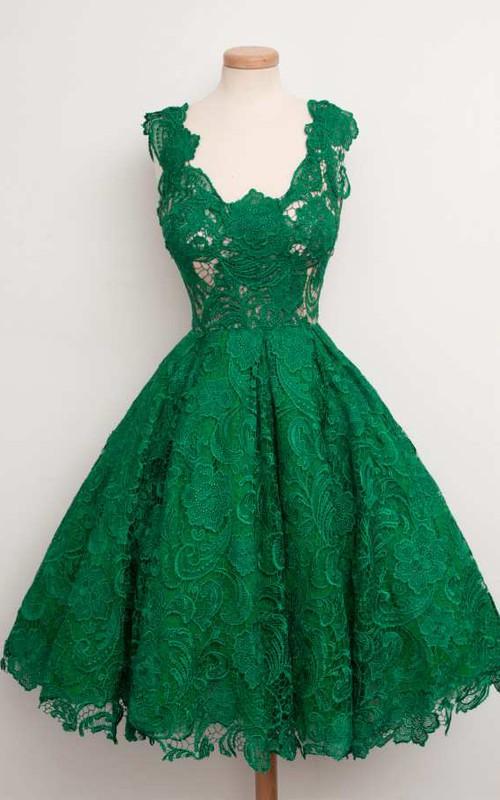A-line Knee-length Short Sleeve Lace Dress