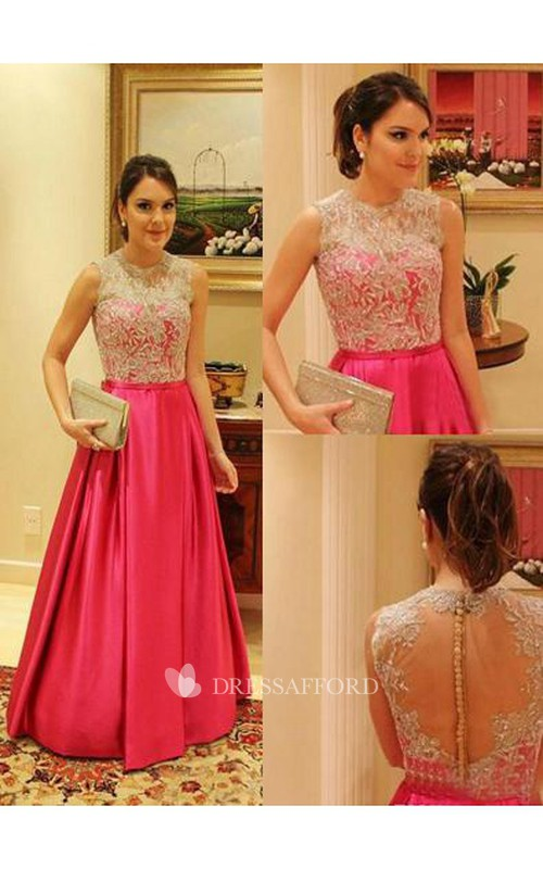 Prom A-Line Appliqués Taffeta Womens Evening Elegant Bateau-Neck Gown