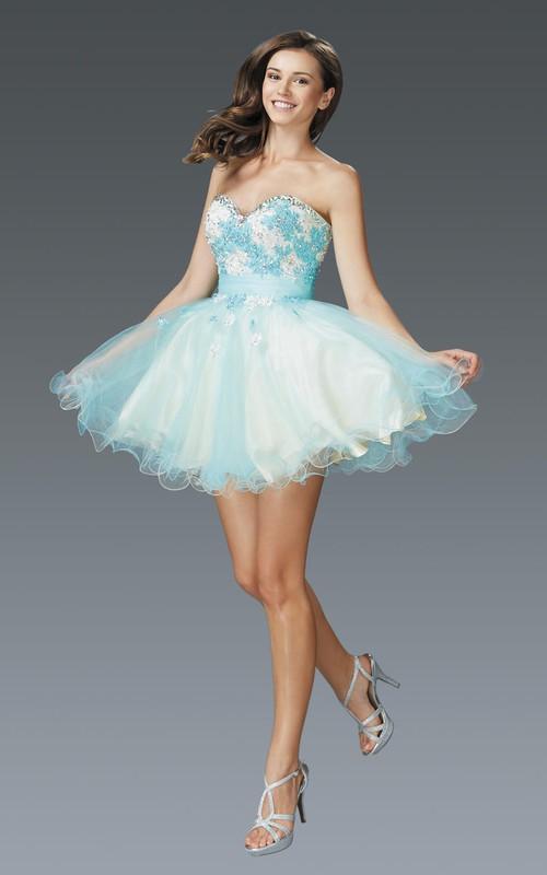 Multi-Color Satin Tulle Ruffled Appliqued A-Line Mini Strapless Sweetheart Sleeveless Dress