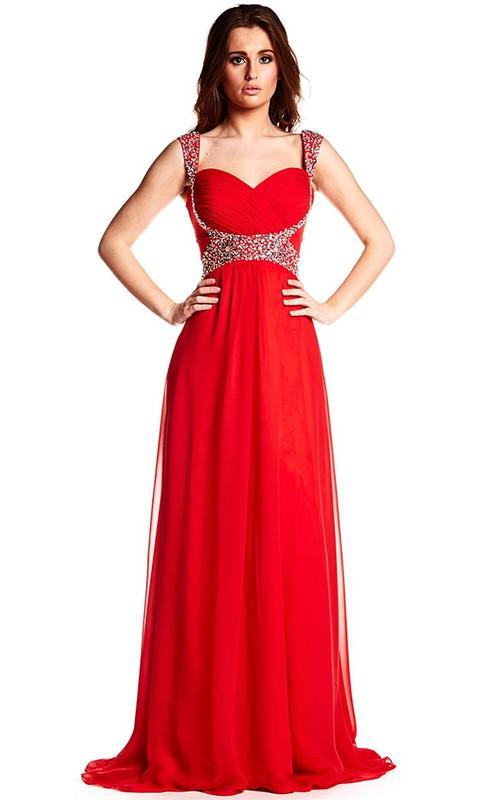 Strapped Criss-Cross Sleeveless Chiffon Prom Dress