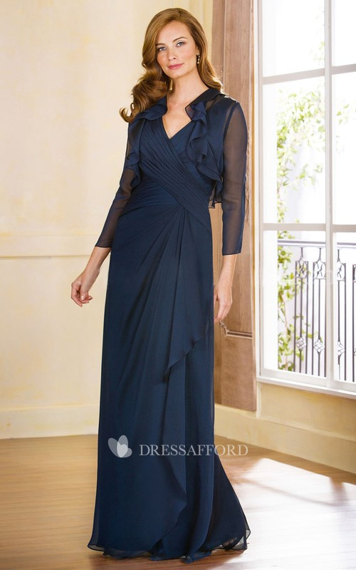 Chiffon Criss cross draped Mother of the Bride Dress With Illusion cape